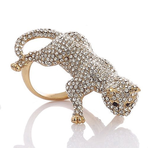 Large Stylish Panther Ring with Jet Black Swarovski Crystal Elements eyes,Luxury Haute Couture Jewellery reminiscent of French Designer CART***; It's a Really Stunning Statement Jewel, in 14K Gold or Silver Rhodium Plating.