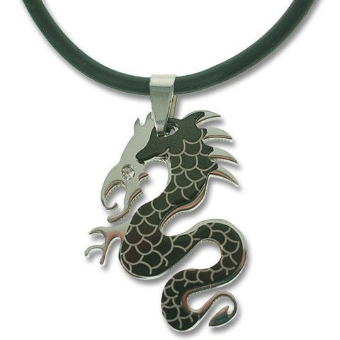 Men's Dragon Pendant Monochrome Black Silver on Trendy Jet Rubber Cord with Magnetic Fasten. Masculine Distinctive Jewellery as a Perfect Birthday or Christmas Gift Idea.Silver Stainless Steel Necklace with a Swarovski Crystal Eye, Great Price