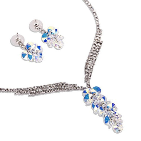 Pure Swarovski Crystallized Elements Crystal Set. Round Crystals Cluster Pendant and Clear Diamond Crystal Neck chain on 14k Gold Plating, 4 Colour Options Topaz, Fuchsia, Amethyst, AB Clear Diamond Great Value for Pure Swarovski.
