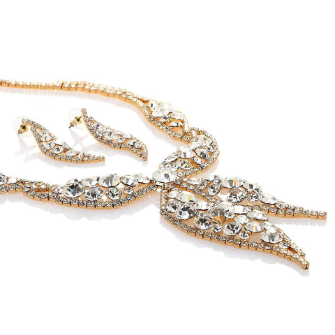 Crystal Necklace & Earring Set,Showered in Clear Swarovski Crystals On Rhodium or 14k Gold Setting Options. Beautiful Statement Jewellery Set at its best. It's a Stunner, exclusive Christmas or Anniversary Gift for the special women in your life!