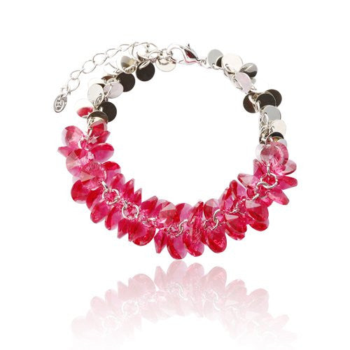 Swarovski Crystallized Elements Bracelet, Cluster of Precious Swarovski Beads on a Fine Jewellery Chain w/ Rhodium or 14K gold Plated Discs. Superb Value for Pure Swarovski Jewellery and exclusive design. Available in 4 Colour Options.