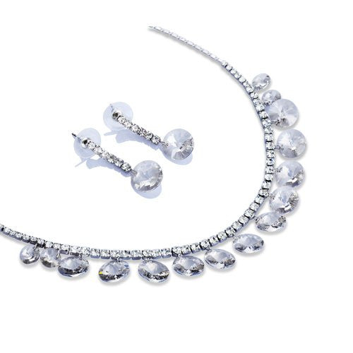 Pure Swarovski Crystallized Elements beads drape a Garland Necklace. Large Swarovski Beads dangling from a crystal embedded Cup chain Necklace. Symmetry and Elegance for a Perfect Neckline Look, Matching Earrings. 2 Colour options
