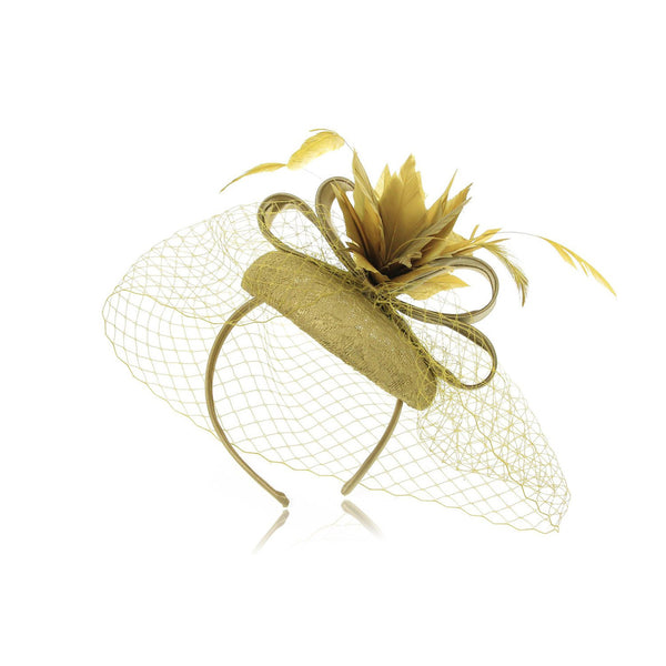 Quaint, Small Fascinator hats for Women, Parisian Chic design, Double bows shape centre and feathers Flower on a Lace covered Top. Two colour options. Our 'Lancaster' Fascinator.