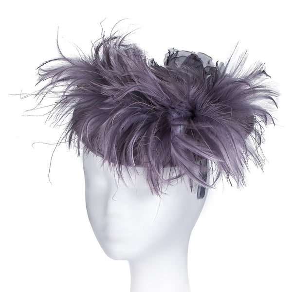 Perfect Wedding Hat, a Great Unusual Fascinator for Any Occasion, Wide Brimmed Fascinators for Weddings, Mother of the Bride or the Races, with a Stunning Feather Boa Swirl & a Large Corsage Satin flower. Extravagant and striking!