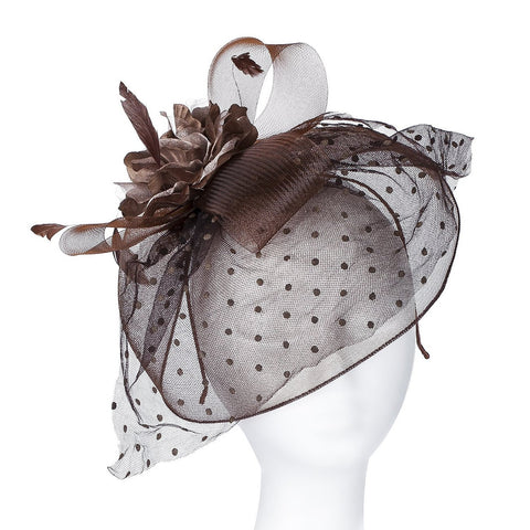 Our 'Highgrove' Vintage Style Fascinator Comes in 6 Beautiful Colours to Match Any Attire. Style with a Soft Nylon Net Rim to Cover the Face Partly, Large Satin & Organza Corsage Set on Net Bows, a Fan of Flock Polka Dot Net