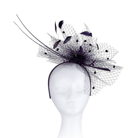 Occasion Hats for Women, Slim, Simple, Netted Fascinator for Weddings or the Races, with Double Peacock Quills. Six Stunning Colour Options, White, Black, Royal Blue, Champagne, Turquoise, Heather Pink, Our 'Barnwell' Fascinator. Great Value