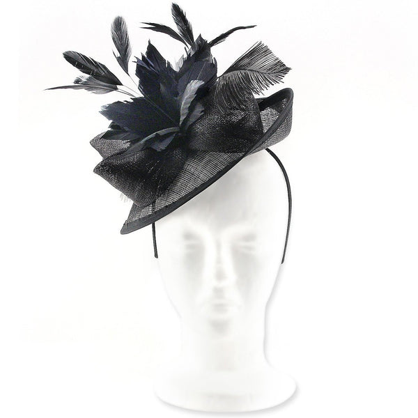 Superb Parisian Style, Brimmed Fascinator Hat for Weddings or Special Occasions, with Ostrich Feathers, Coque Feather Corsage & Sinamay Fabric Bows. Iconic and Classy, Our 'Beaumont' Fascinator.