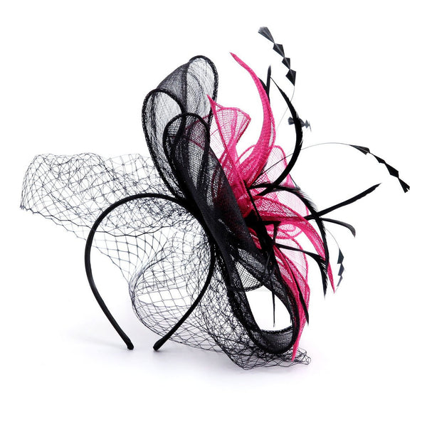 Buckingham' Black & Pink Hat Fascinator with Net Mesh Veil, Stunning Fuchsia & Black Hat Combo in this Headwear, Avaliable in 2 Colours.