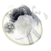 Stunningly Extravagant Fascinator Hat with a unique Wide Brimmed Design. Ideal for Weddings or the Garden Party. Its composed of satin, chiffon, feather corsage flowers and striped ribbons. Two colour options. Our 'Salisbury' Fascinator.
