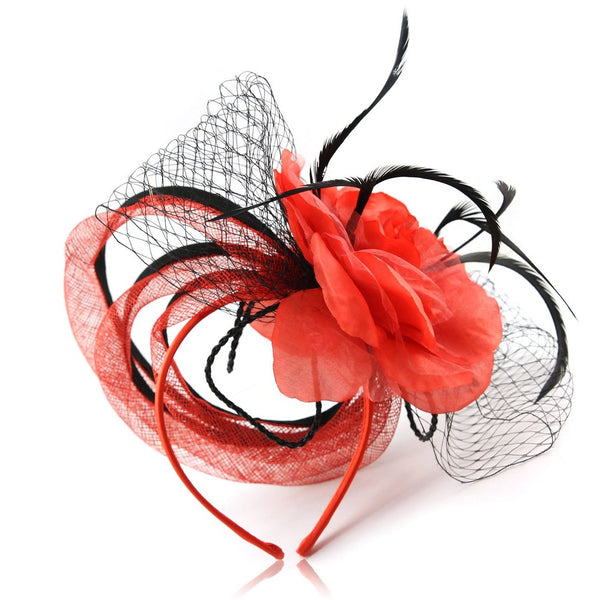 Unique janeojewels Styling you won't find anywhere in this Parisian Art deco style Unusual fascinator hat. Three Fabric Ring Tubes fall gracefully behind the Large corsage flower and net Bows.