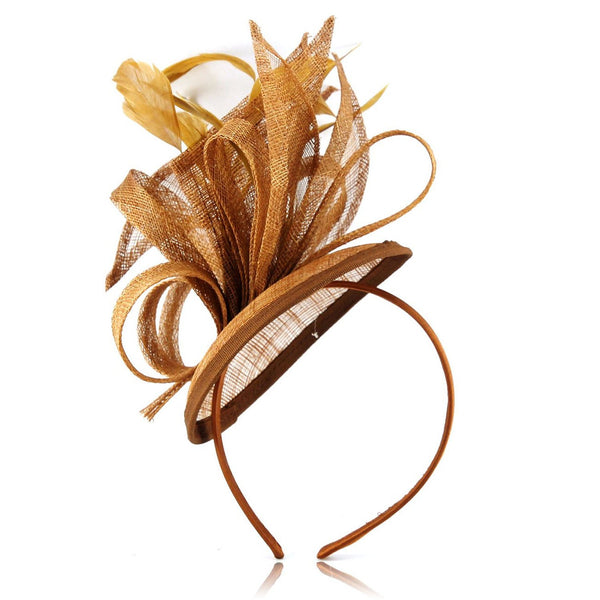 Striking Value Fascinator for Weddings or a Special Occasion, with Swirls, Loops & Petals of Sinamay and Dainty Feathers. 3 colour Options. Our best seller as its Simple, Subtle and Dainty. Great Choice for all occasions.