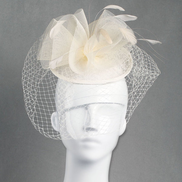 Classic Wedding Veiled Fascinator. Swirled Soft Cones Fascinator for Weddings, Mourning Dress or the Races, with a Netting and Light Feathers.Two colour options.