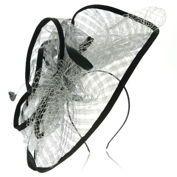 Occasion hats for Women, Wide Brimmed Fascinator for weddings or the Races, with Silver Grey Sinamay mesh, netting and dainty feathers. Stunning and Extravagant, 3 pieces Headwear, great value, Comes with Corsage