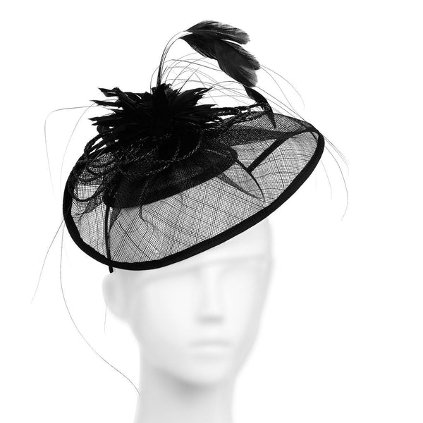 Beautifully Styled Millinery Hat Fascinator; Imposing Curves & Wide Brimmed Design for Weddings or the Races, with a large star flower feather centre. Stunning! Two colour options, and a great value price.