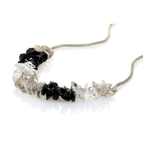 Garland Style Pure Swarovski Crystallized Elements Crystal Necklace - 14K Gold or Silver Rhodium; 4 Colour Options: Clear & Jet mix, Amethyst; Light Graphite & Topaz.