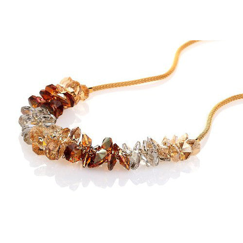 Garland Style Pure Swarovski Crystallized Elements Crystal Necklace - 14K  Gold or Silver Rhodium; 4 Colour Options: Clear & Jet mix, Amethyst; Lig...