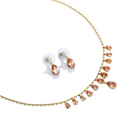 Vintage Crystal Necklace & Earrings Jewellery Set, It's a Classic adorable Gift for anyone, Timeless Style w/ highest grade CZ Pear drop crystals Mounted on a 14K gold Plating. 2 Colour Options; Light Topaz and a Vibrant Siam Red. It's Exquisite.