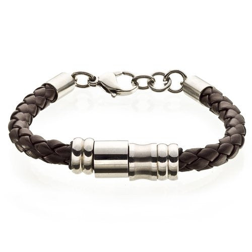 Mens Braided Cord Style, Genuine Leather Bracelet. Stainless steel rings and Adjustable Link Chain, Classy Symmetrical leather Cord w/ Stainless Steel Accessories , Great Price; Comes in 2 colour options Black and Brown