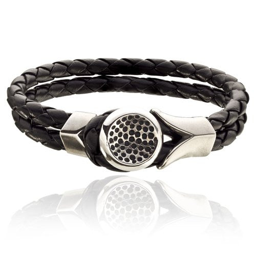 Mens Twin Cords & Stainless Steel Braided Style Leather Bracelet with Decorative Button Fastening.  Smart, Stylish and Safe Choice. Two Colour Options; Black and Brown. Picture says it all, it's a fab style!
