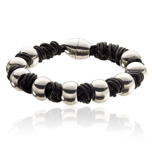 Mens Genuine Leather & Stainless Steel Wristband with Magnetic balls fasten.  Round Silver balls and Twisted leather. Lavish polished Rings alternate with Matt Leather Knots.