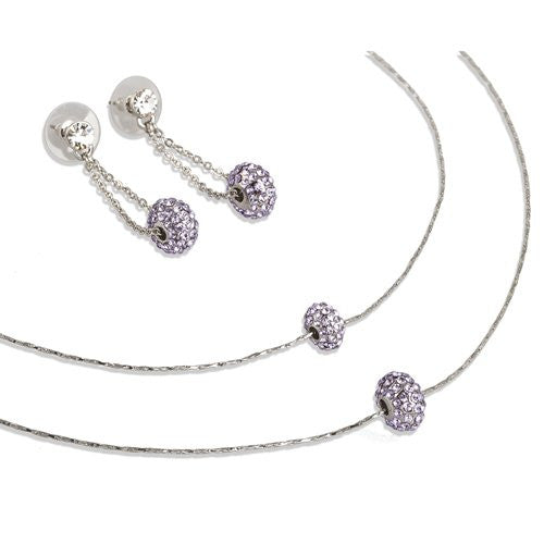 Two Tier; Crystals Charms Necklace & Earrings Jewellery Set. Beautiful Style, on a delicate flat chain w/ matching hanging drop earrings. 4  colour -  Clear & Topaz on 14K Gold or Clear & Amethyst on Silver Rhodium.