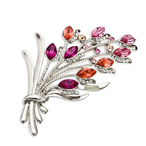 Vintage Flower Bunch Brooch Pin, Large Distinguished Swarovski Crystal and Pear Drop Czech Crystals.4 fabulous Colour options and in Rhodium or 14K Gold Plating. Clear Diamond, Silver, Pink and Amethyst Purle.