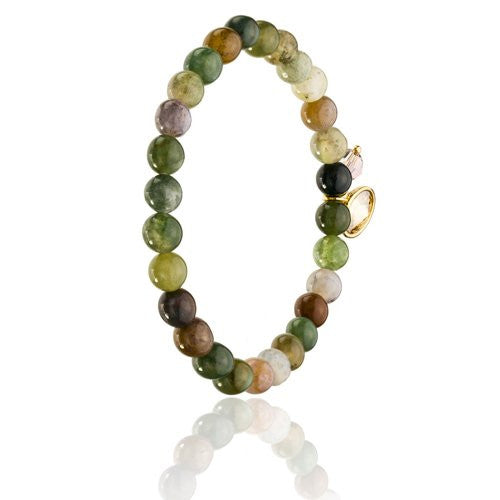 Dyed Agate Beads, Tonal Reds, Sapphire Blue and Earth Topaz & Greens Combo w/ 2 Swarovski Crystal Charms, Stretch Bead Bracelet of Finest Quality. To be Worn On its Own or w/ Other Beads and Bracelets as a Stack. Cooling Therapeutic Agate Properties.