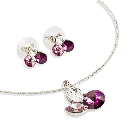 Trio LOVE Set; Swarovski ® Crystallized Elements Crystals Necklace; Diamond Cut 'Ménage Trois' Jewellery set. Trio of 10mm Pure Swarovski Crystals Pendant & matching earrings. 3 Colours: Amethyst, Sapphire and Rose Pink