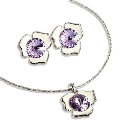Swarovski® Rose of Love Set; Stunning Single Swarovski Crystal Pendant and Matching Earrings. 3 Petal Rose w/ a single 12mm Swarovski Crystal on an Enamel Petals. Pure Swarovski Crystal, in Rose, Aquamarine and Light Amethyst Jewellery