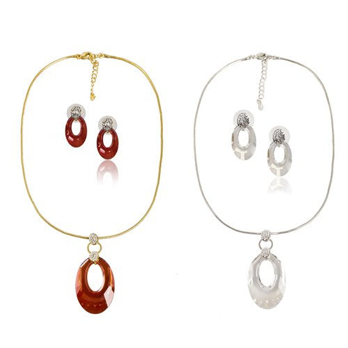 Swarovski® Special Edition Shapes Gems; Stunning Single Swarovski Oval Crystal Pendant Set and Matching Earrings. Statement Contemporary Jewellery Design. In Clear or a Stunning Red, 14K Gold OR Rhodium Plated Chain