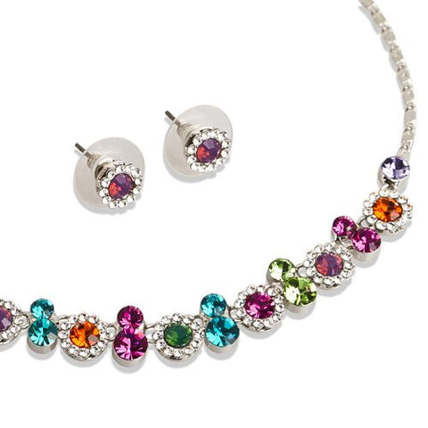 Swarovski® Melange Set; 100% Pure Swarovski Crystals in all Sizes Stunning Necklace and Matching Stud Earrings. Jewellery set on Rhodium in Monochrome of Diamonds and Graphite's, and Vibrant Multi colours w/ Pink, Green, amethyst, Red and Clear.