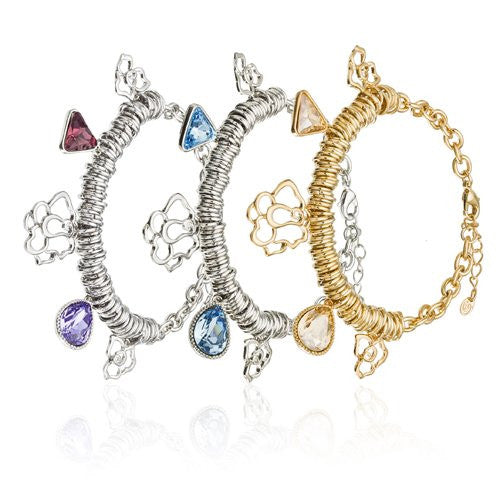 The London Bracelet, Cluster Of Round Links with Swarovski Crystal Charms and cut out Filigree Flowers, 14K gold and Rhodium plated Options, Topaz, Sapphire and Amethyst Swarovski Crystal Charms.