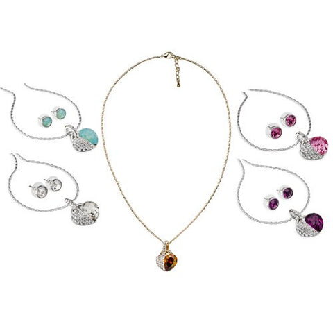Hearts Necklace & Earrings Set in Swarovski Crystals Elements, finest quality crystals. Jewellery set w/ Heart pendant w/ a large single Swarovski Pear Drop Diamond, and Clear Crystals. 5 colour - Jade Opal, Rose pink, Topaz, Amethyst and Clear Diamond.
