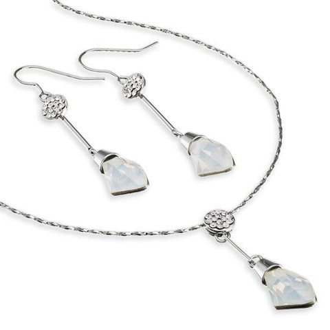 Swarovski ® 'Polygon' Graphic Crystal Pendant Necklace & matching Drop Earrings Set. The drop earrings are Stunning, a long bar w/ the polygon crystal matching the pendant. 3 colours - White Alabaster, Tanzanite and, Gold Topaz.