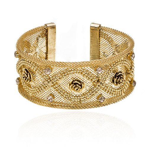 The English Rose Vintage Wide Cuff Bracelet. Mesh Sculptured style. One size only Slip on Cuff Bangle in 3 Finishes: 14K Gold Plated; Antique Silver w/ AB crystals & Antique Brass w/ Amethyst Crystals.