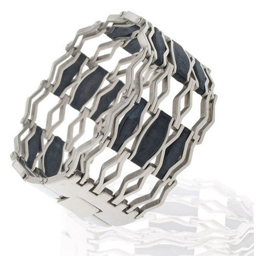 Stainless Steel Mens Jewellery Bracelet, Zig Zag fashionable design bangle. Stunning gift for him and under £20.