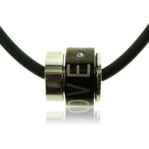 Men's and Women's Unisex Silver Stainless Steel Black Love Jewellery Pendant Necklace. A Black Barrel with 'Love' inscribed. Rubber Cord.