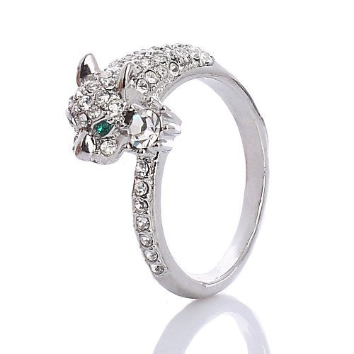 Panther Ring, Stunning Silver Rhodium Plated inlaid with Clear Swarovski Crystals Elements. Luxury Haute Couture Jewellery reminiscent of French Designer CART*** ! Stunning Janeo Collection; see others in our Shop. Prices Slashed in our Christmas Shop.