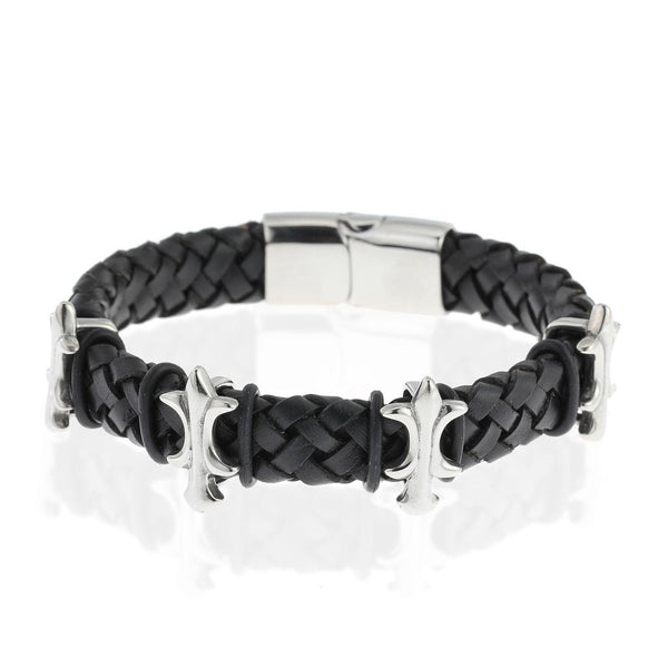 Mens Stunning Christmas & Anniversary Gift Idea for Him Wristband Jewellery Celtic Style Bracelet Genuine Plaited Leather Strap & Stainless Steel Details. 2 Great Colours, Classic Black or Tan.