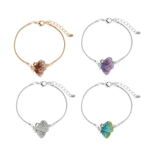 Crystal Butterfly & Wings Charm Costume Jewellery Bracelet. 4 Colours: Clear Diamond on Silver, Aqua Blues and Turquoises,  Amethyst and Topaz on 14K Gold.