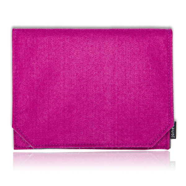 "Felt Wool Fabric Apple iPad Carry Case Cover. Retro Design Travel Sleeve for 9"" Tablet,  with Document Sleeve and Card Pockets. Grosgrain Ribbon Pull Strap. 7 Fab, Two-Tone Contrast Colours: Lime Green, Grey, Orange, Violet, Red, Cerise and Mocha Brown"