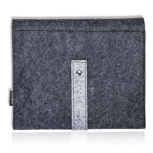 "Felt Wool Fabric Apple iPad Carry Case Cover, Window Feature Style Unique to Janeo. Retro Design Travel  Sleeve for 9"" Tablet, with Document Sleeve and Card Pockets. Grosgrain Ribbon Pull Strap. 3 Fab, Two-Tone Contrast Colours: Grey Marl, Cerise & Grey"