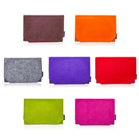 "Felt Fabric iPad Mini 7"" Tablet Case Cover. Velcro Fasten, Retro Wallet Design with Document Sleeve & Pockets for Cards. Unique Grosgrain Ribbon Pull-Up Strap, 7 Fabulous Colours; Lime Green, Grey, Orange, Violet, Red, Cerise and Mocha Brown"