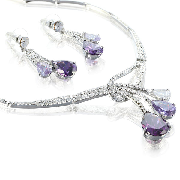 Love Drop Trio Crystal Necklace & Earrings Set. Classic Interlocking Necklace w/ 3 Pear Drops Asymmetrical  Design. Stunning Matching Earrings. 4 Colours - Multicolour & Clear on 14k Gold, Amethyst & Clear on Silver Rhodium, Great Gift at a Fab Price.