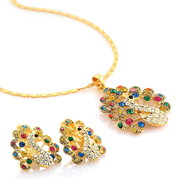 Royal Marharaja Peacock Pendant Necklace and Earrings Set. Quaint Swarovski and Czech Crystal Jewellery at its Best. Multi-Colour on 14k Gold, and Vibrant Sapphires on Silver Rhodium. Great Jewelry Gift for Her.