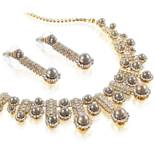 Bridal Jewellery Wedding Set Entirely Covered w/ Swarovski Crystal Elements and Pearls. Symmetrical Tapered Necklace Style w/ Long Dangling Matching Earrings. 3 Colour Combos: 14k Gold Ivory, Silver Rhodium Ivory & 14k Gold w/ a Unique Mocha Grey Pearl.