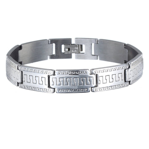 Mens Classic Retro Jewellery in Solid Stainless Steel w/ a Greek Key Engraved Pattern in Silver, Links  Bracelets. Safe Festive Christmas Gift Idea for him. Great Price in Our Xmas Shop for Promotion