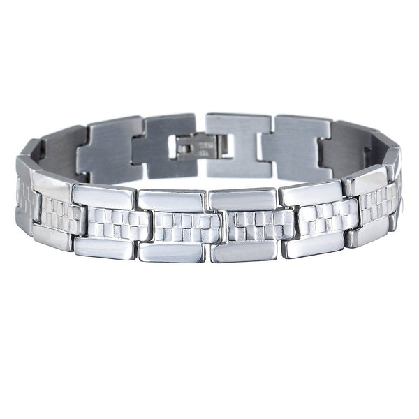 Mens Jewellery in Solid Stainless Steel Silver, Links Bracelet. Slim Classic Design, w/ Centre Chequered Texture Design. A Safe Festive Christmas or Anniversary Gift Idea for Him. Great Price for Promotion in Our Xmas Shop.
