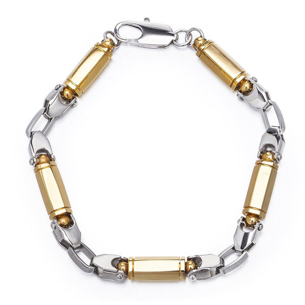 Mens Jewellery in Solid Stainless Steel Silver and Gold, Round Links Bracelet in Two Colour Effect. Classic Design, Safe Festive Christmas Gift Idea for Him. Great Price for  Promotion.