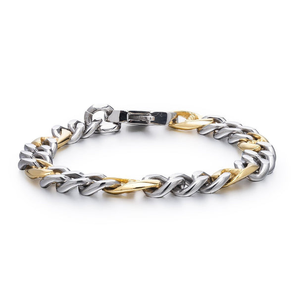 Mens Jewellery in Solid Stainless Steel Silver and Gold, Classic Cut Chain Links Bracelet in two colour effect. Masculine and Chunky, but Lightweight. Safe Festive Christmas Gift Idea for him. Great Price for promotion